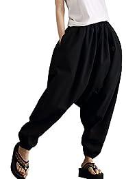 Aivtalk Unisex Linen Pants Loose Baggy Harem Trouser with Elastic Waistband