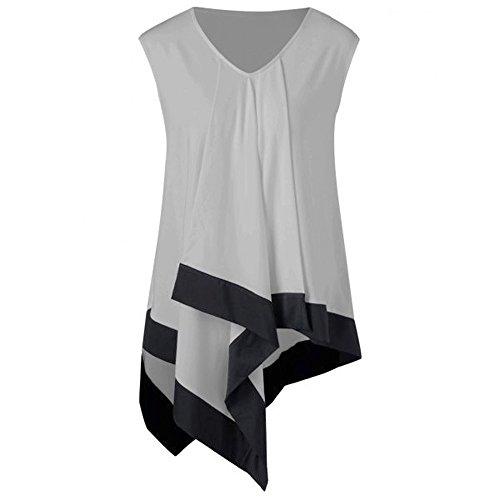 (Women's Pacthwork Tank Tops,Cinsanong Sales! Ladies Sleeveless V Neck Summer T-Shirts Loose Irregular Cami Shirts Gray)