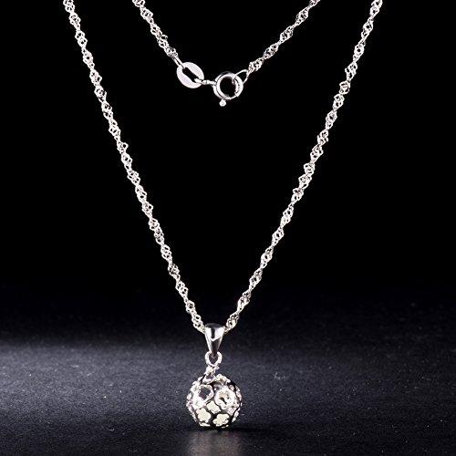 925 Pur Argent Collier, Platine Plaque Boule Creuse Pendentif avec Perle Noctilucente, 450mm