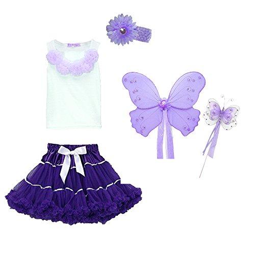 [Fairy Princess Costume - Wings, Wand, Tutu, Top Halloween Dress Up (3/4 Purple)] (Top Five Halloween Costumes)