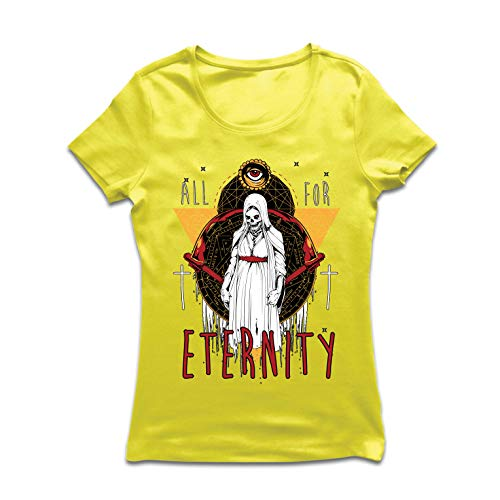 lepni.me Women's T-Shirt All for Eternity Skeleton Halloween Exorcist Skull (XX-Large Yellow Multi]()