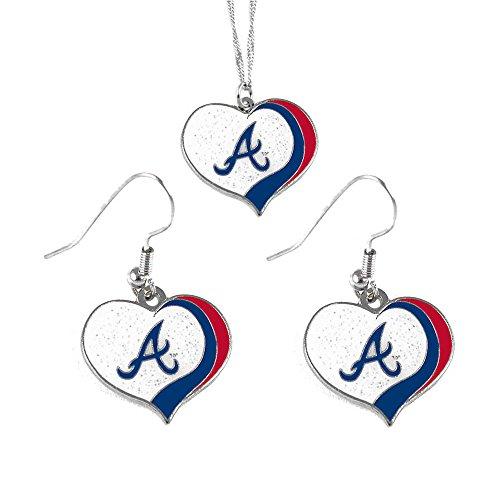 (aminco Atlanta Braves MLB Sports Team Logo Charm Gift Glitter Heart Necklace and Earring Set)