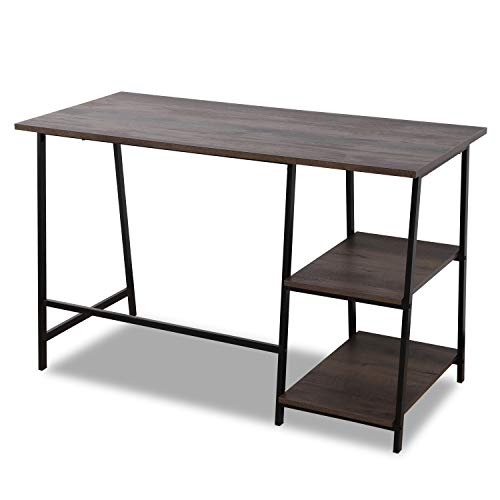 (Sekey Home Office Computer Corner Desk | Study Writing Desk | PC Laptop Table Workstation with Storage Space, Smoky Oak )
