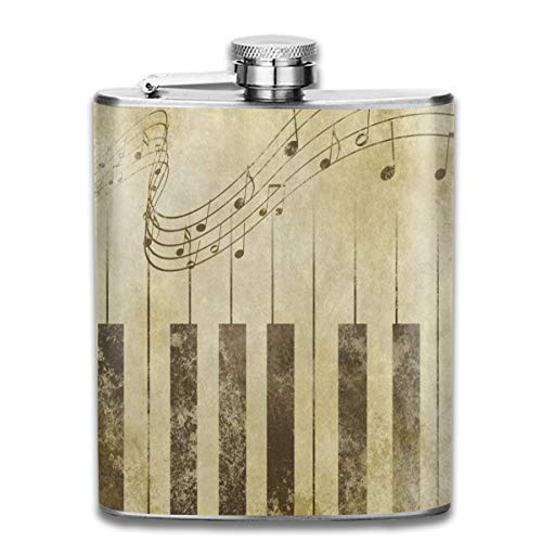 (Stainless Steel Hip Flask Vintage Music Note Piano Sheet Bottle For Liquor Wine Alcohol Portable Flagon Liquor)