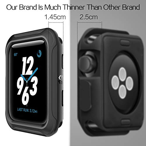 V85 Compatible Apple Watch Case 42mm, Shock-proof and Shatter-resistant Protector Bumper iwatch Case Compatible Apple Watch Series 3, Series 2, Series 1, Nike+,Sport, Edition Black by V85 (Image #8)