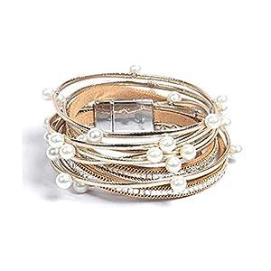 Artilady Pearl Leather Wrap Bracelet – Handmade Bohemian Wrap Clasp Bangle Bracelet for Women