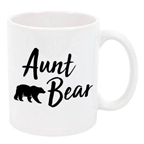 (Mama Bear, Papa Bear, Grandma Bear, Grandpa Bear, Aunt Bear, Uncle Bear for Mother`s/Fathers Day Ceramic Coffee Tea Mugs (Aunt Bear, 11 oz.))