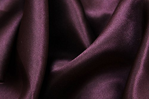 54 inch by 40 yards Material: 100% Polyester Satin Fabric Roll - Plum/Eggplant ()