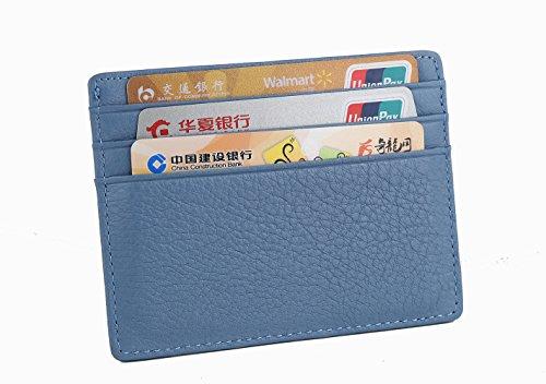 Artmi Leder Slim Karte Halter Womens Mens Gehäusefront Tasche Geldbörse kleine Cash Kartenhalter Ohne ID-Fenster blau 1JKxWfW