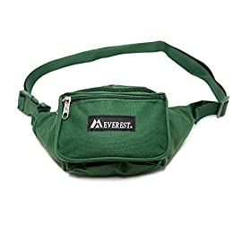 "Everest Signature Waist Pack-Standard, Black, One Size 6 Dimensions 11.5"" x 3"" x 4.5"" (LxWxH) The perfect sized waist pack designed for everyday use Three zippered compartments: 1) Front pocket with detachabale key ring 2) Large middle compartment 3) Secure back pocket for valuables"