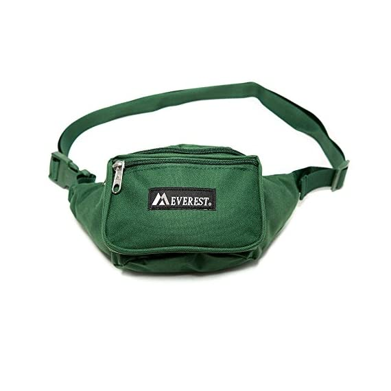 "Everest Signature Waist Pack - Standard 1 Dimensions 11.5"" x 3"" x 4.5"" (LxWxH) The perfect sized waist pack designed for everyday use Three zippered compartments: 1) Front pocket with detachabale key ring 2) Large middle compartment 3) Secure back pocket for valuables"