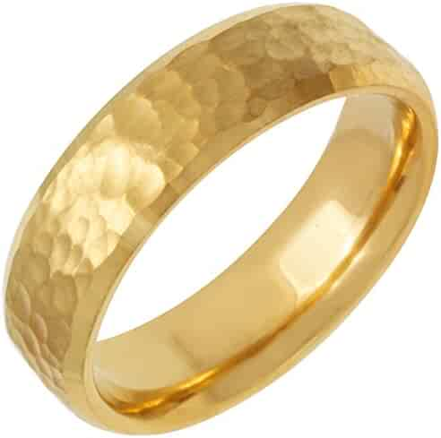 14K Gold Traditional Top Flat Men's Hammered Finish Comfort Fit Wedding Band (6mm)