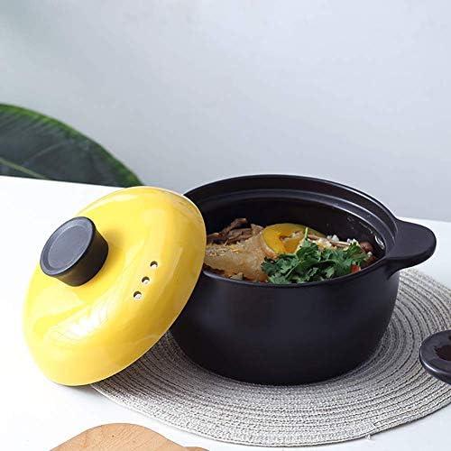 Corée Hob Batterie de cuisine en céramique pot d'argile Pot en terre saine soupe chaude pot Cocotte Color Slow cuisson Jaune 2,64 quarts 1yess