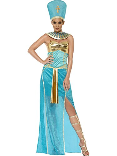 Smiffy's Women's Goddess Nefertiti Costume, Dress, Headpiece and Collar, Tomb of Doom, Halloween, Size 6-8, (Nefertiti Costume)