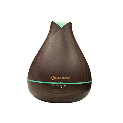 530ml Aromatherapy Ultrasonic Essential Oil Wood Grain Diffuser Burner – Zen Mist, Lasts 15 Hours, 14 LED Lights BPA FREE by KOKO AROMA (Dark Wood (Aroma Oil Burner)