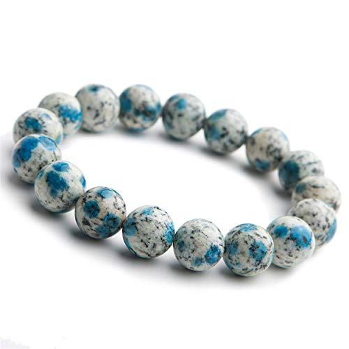 LiZiFang Genuine Natural K2 Jasper Granite Azurite Crystal Stretch Round Bead Bracelet 12mm