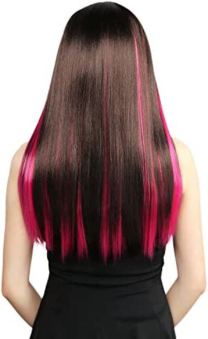 Neitsi 10pcs 18inch Colored Highlight Synthetic Clip on in Hair Extensions #F09 Rose