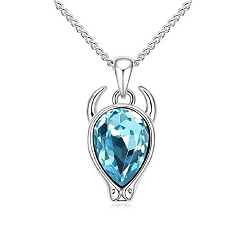 [Yuriao Jewelry Elegant Fashion 18k Constellation Taurus Crystal Pendant Necklace£¨blue£] (Dallas Wholesaler Costumes Jewelry)
