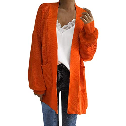 Littleice Womens Long Pocket Cardigans Jacket Thick Parka Overcoat Winter Outwear Open Front Sweater Knitted Coat Tops (Orange)