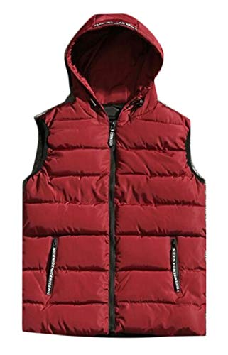 Padded Jacket Quilted Warm Vest Mens Hoodie Coat 2 Puffer TTYLLMAO Solid fqx6nUwIX8