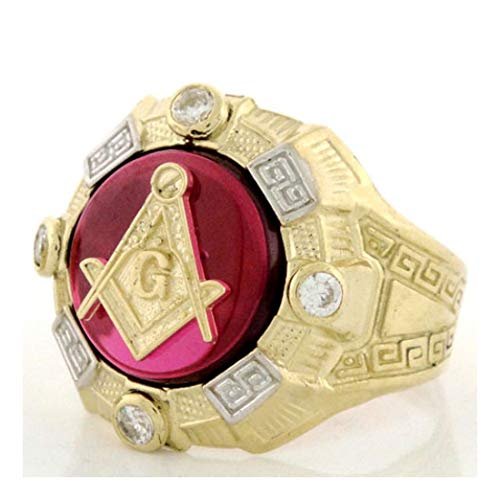10k Gold Two-Tone Mens Simulated Ruby Masonic CZ Ring (Style# 1955) - Size 8 ()