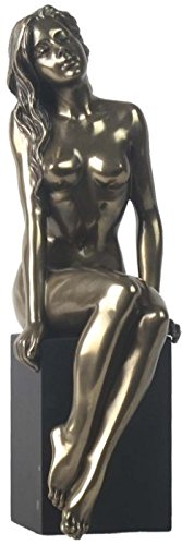8.25 Inch Nude Female Statue Figurine Sitting on Plinth, Bronze Color