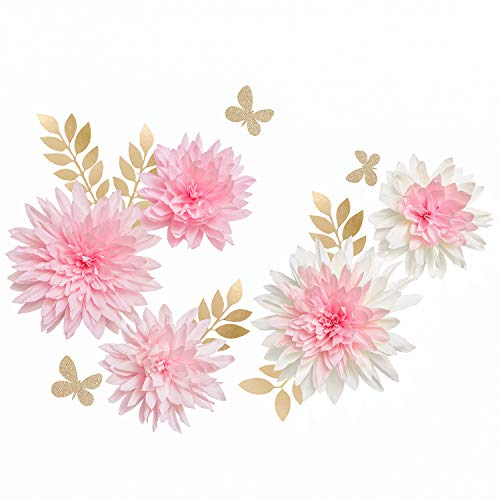 Ling's moment Paper Flower Decorations, Set of 5, Handcrafted Crepe Paper Dahlia Leaves Butterfly Assorted for Wall Baby Nursery Wedding Backdrop Table Centerpiece Bridal Shower Monogram(Pink,Cream)]()