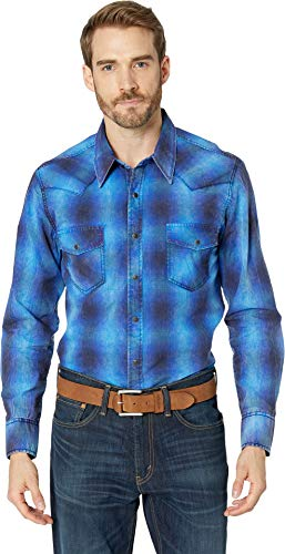 Snap Close Western Shirt - Rock and Roll Cowboy Men's Long Sleeve Snap B2S8002 Blue Medium