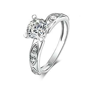 Daesar Wedding Rings for Women Elegant 4-Prong Round White Cubic Zirconia Ring Size 10.5