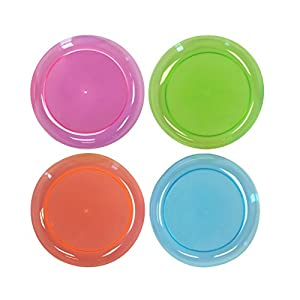 Party Essentials Hard Plastic 7.5-Inch Round Party/Salad Plates, Assorted Neon, 40 Count