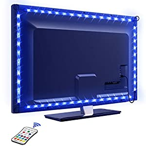 LED TV Lightstrip 2.2M, OMERIL Bandes LED 16 Couleurs et 4 Modes Rubans LED RGB 5050 Alimenté par USB, Bande Lumineux…