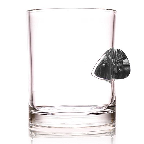 - The Original Whiskey Glass Embedded with a Real Acoustic Guitar Pick - Grey