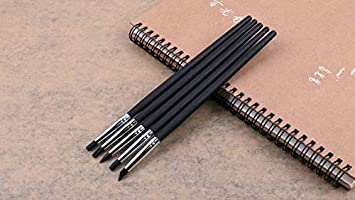 5pcs Professional Silicone Rubber Tip Paint Pens Brushes Durable Metal Casings Black Wooden Handle Soft Silicone Tips for Shaping Modeling Wipe Out Clay Sculpting Tools