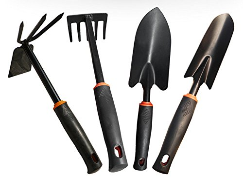 GTOT 4 Pieces Garden Tools Set Metal Flower Shovel,Dual Hoe,Five Teeth Rake,GardenHand Tools Set with Black Plastic Polishing Soft Handle by GTOT