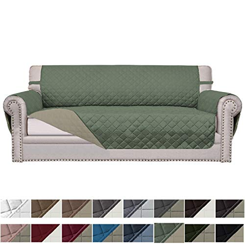 Easy-Going Sofa Slipcover Reversible Sofa Cover Furniture Protector Couch Cover Elastic Straps PetsKidsChildrenDogCat(Sofa,Greyish Green/Beige)