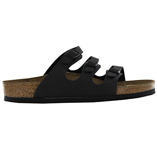 BIRKENSTOCK Women's Birko-Flor Florida Soft Footbed, Black - 40 M EU / 9-9.5 B(M) US (Birkenstock Soft Sandals)
