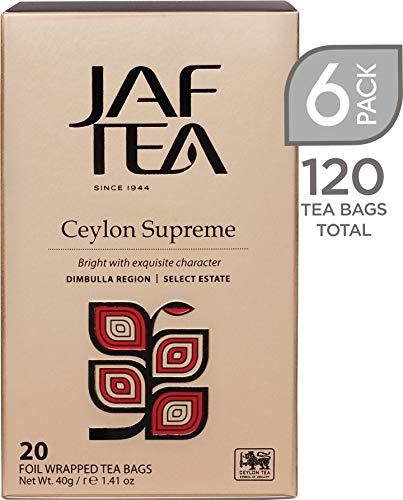 Jaf Tea - Classic Gold Collection - Ceylon Supreme - Black Tea - 6 Pack, 120 Tea Bags Total