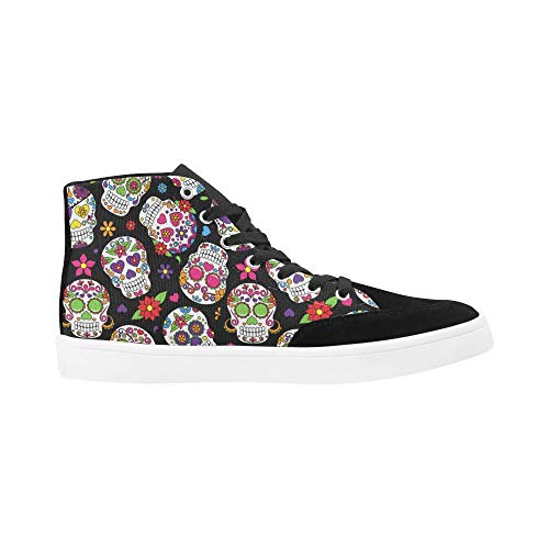 Unique Design Sugar Skull Bootes High Top Canvas Shoes for Women Girls Red