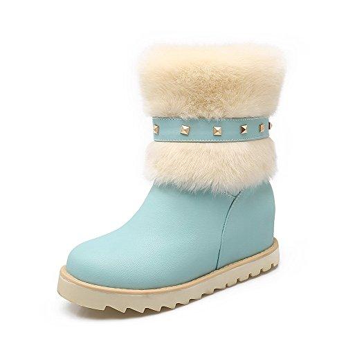 AllhqFashion Damen Mittler Absatz Eingelegt Rund Zehe Ziehen auf Stiefel Blau