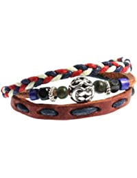 "<span class=""a-offscreen"">[Sponsored]</span>Hip Red, White, Blue Braided 3-strand Leather Zen Bracelet with Adjustable Drawstrings in Gift Box"
