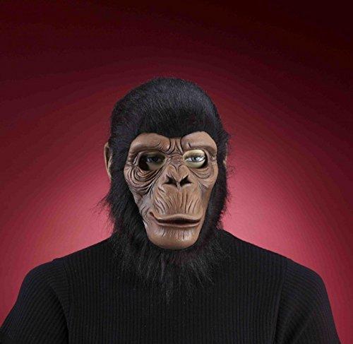Mask Costumes Chimpanzee Adult (Chimpanzee Chimp Full Over the Head Latex Mask with Fur Monkey Mask Adult)