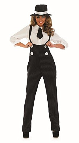 1920 Gangsters Costumes (1920s Sexy Black Gangster Female Fancy Dress Costume & Hat - M (US 10-12))