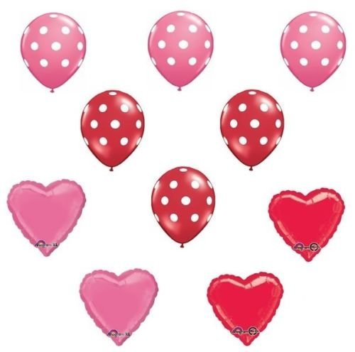 LoonBalloon American Girl Doll Party Red & Rose Heart Polka Dots Mylar & Latex Balloons Set ()
