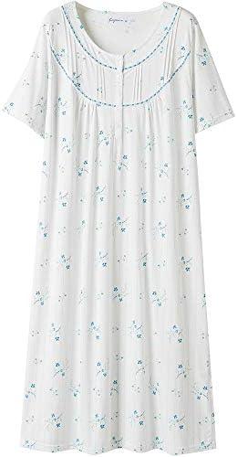 Keyocean Cotton Women Nightgowns, Soft Comfy Lightweight Short Sleeves Sleepwear Lounge-wear for Ladies