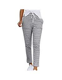 ASTV Women Striped Elastic Waist Stretch Slim Fit Chino Pants Casual Trousers Joggers