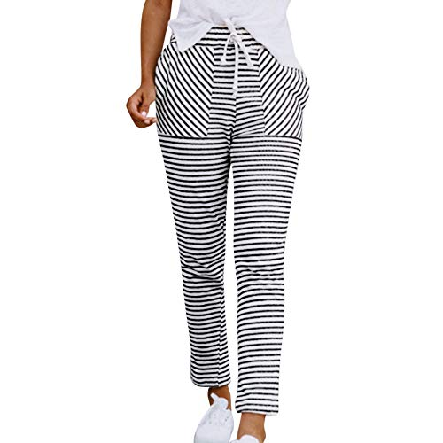 SUJING Women's High Waist Casual Stripe Print Drawstring Wide Leg Pants Palazzo Loose Sweatpants S-XL (White, -