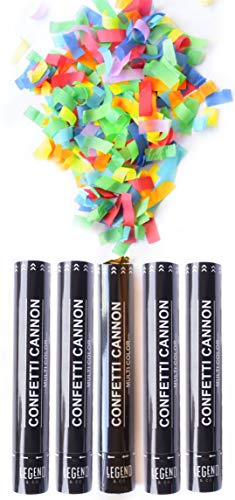 Legend & Co. Large Confetti Cannons Party Poppers Multicolor, (5 Pack) Air Compressed and Biodegradable | Launches 20-25ft | Celebrations, New Year's Eve, Birthdays and ()