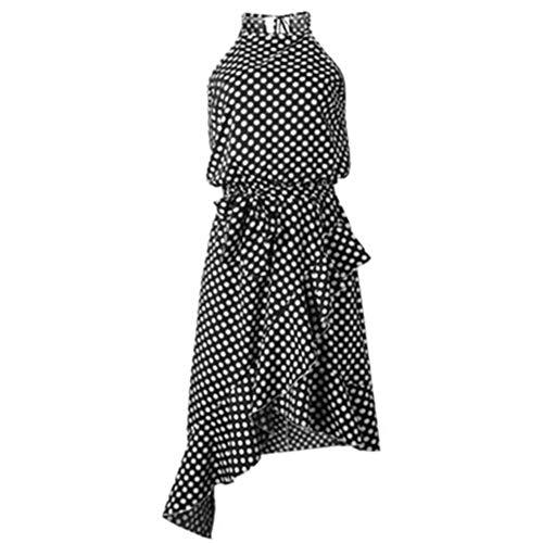 (Women Sleeveless Casual Dress, Elegant Sexy Long Slip Dress Dots Chiffon Irregular Gown Plus)
