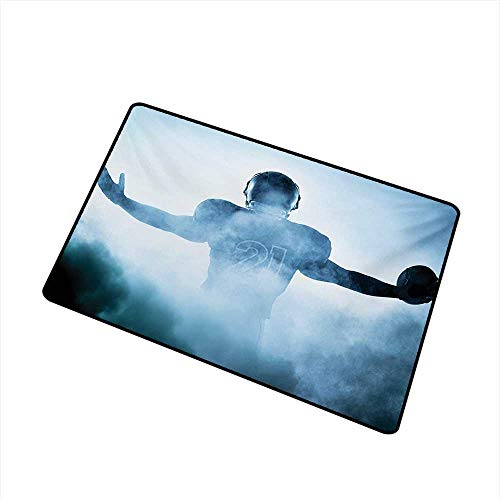 Axbkl Waterproof Door mat Sport Heroic Shaped Rugby Player Silhouette Shadow Standing in Fog Playground Global Sports Photo W24 xL35 Super Absorbent mud