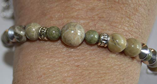 Michigan Gemstone Fossil Coral Jewelry Bracelets Petoskey, Epidote and Favosite stone beaded handcrafted choice of size each one unique